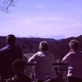 Blick vom Isartal in die Berge