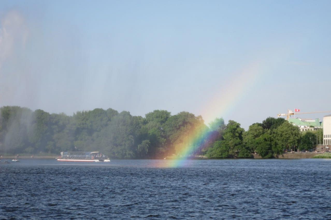 Regenbogen-Fahne naturell